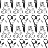 Vintage scissors seamless background. Hand drawn vector pattern. Stock Photos