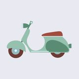 Vintage scooter on a neutral background. Green vintage ecological scooter out of the car on a neutral background vector illustration