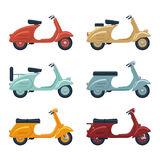 Vintage scooter set vector illustration Royalty Free Stock Images