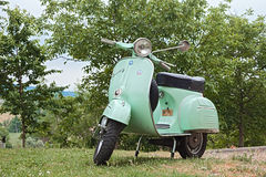 Vintage scooter Vespa 125 GTR (1969). Vintage italian scooter Vespa 125 GTR (1969) parked during the rally of classic Vespa Trofeo dell'appennino on May 16, 2015 Royalty Free Stock Photos