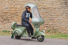 Vintage scooter Vespa with hard top Royalty Free Stock Images