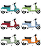 Vintage scooters icons set Royalty Free Stock Photos
