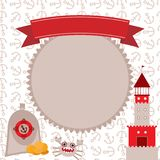 Vintage scrap nautical card cute sea objects collection Red and gray. vector. Stock Photos