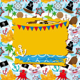 Vintage scrap nautical card with frame, anchor and pattern with sea animals, boats pirates. Stock Photo