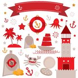 Vintage scrap nautical set cute sea objects. Red, gray, yellow. Vector Stock Images