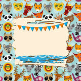 Vintage scrap template card with photo frame and animals background Stock Images