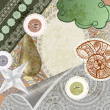 Vintage scrap template design. Vector vintage scrap template design: snail,drop, cloud, patter and buttons inclueded royalty free illustration