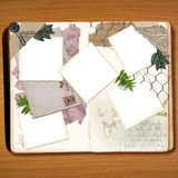 The Vintage Scrapbook. A vintage scrapbook with various items mixed among the polaroid frames Stock Photography