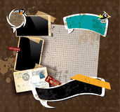 Vintage scrapbook composition. With old style distressed postage design elements and antique photo frames plus some post stickers Stock Photography