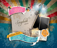 Vintage scrapbook composition with old style distressed postage design Stock Images