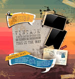 Vintage scrapbook composition with old style elements Stock Photo