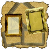 Vintage scrapbook old paper. With frames stock photos