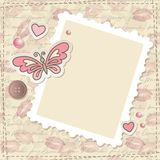 Vintage scrapbooking set. With butterfly, hearts and paper frame royalty free illustration