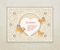 Vintage scrapbooking set with butterflies, heart, pearls  and pa Stock Photo