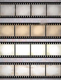 Vintage scratched film strips. Vintage scratched seamless film strips or frame collection Royalty Free Stock Images