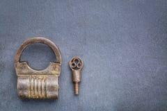 Vintage screw type iron padlock Royalty Free Stock Image