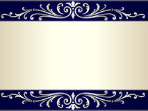 Vintage scroll background in silver beige and blue Royalty Free Stock Images