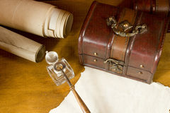Vintage scrolls and ink for writing instruments Royalty Free Stock Photography