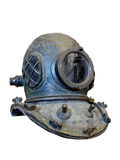Vintage scuba helmet. Built of heavy copper and glass. Used for abalone fishing at the end of ninteen century. Isolated on white Royalty Free Stock Images