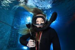 Vintage scuba woman Stock Image