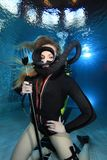 Vintage scuba woman Stock Photo