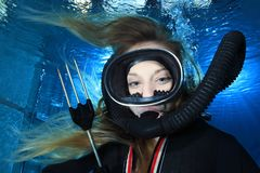 Vintage scuba woman Royalty Free Stock Photo