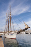 Vintage sea clipper in the port Stock Images