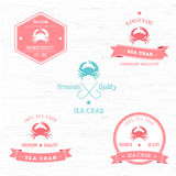 Vintage Sea Crab Badge set Royalty Free Stock Image