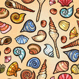 Vintage sea shell set pattern. Hand drawn Stock Images