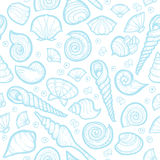 Vintage sea shell set pattern. Hand drawn Stock Photography