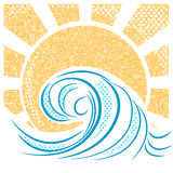 Vintage sea waves and sun. Vector illustration of sea landscape royalty free illustration