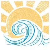 Vintage sea waves and sun. Vector illustration of sea landscape royalty free illustration