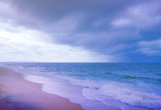 Vintage seaa and beach storm cloud Royalty Free Stock Photos