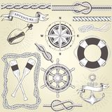 Vintage seafaring elements - steering wheel, oars, rope frame. And knots Royalty Free Stock Photos