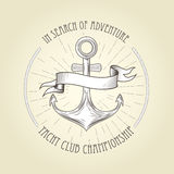 Vintage seafaring emblem - anchor and banner Stock Images
