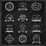 Vintage Seafood Badges Chalkboard Stock Photos