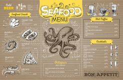 Vintage seafood menu design on cardboard. Restaurant menu vector illustration