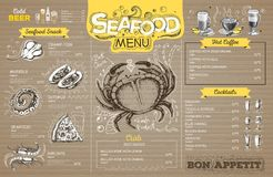 Vintage seafood menu design on cardboard. Restaurant menu royalty free illustration