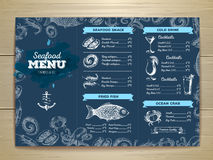 Vintage seafood menu design. Royalty Free Stock Image