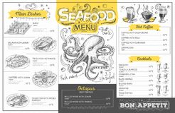 Vintage seafood menu design. Restaurant menu Stock Photos