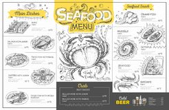 Vintage seafood menu design. Restaurant menu Royalty Free Stock Photography