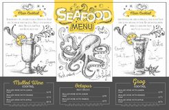 Vintage seafood menu design. Restaurant menu Royalty Free Stock Image