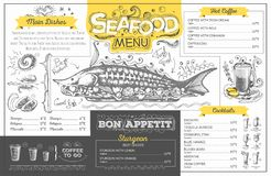 Vintage seafood menu design. Restaurant menu Stock Photography