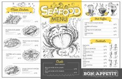 Vintage seafood menu design. Restaurant menu Royalty Free Stock Photo