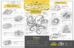 Vintage seafood menu design. Restaurant menu Stock Image