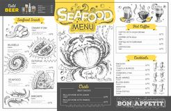 Vintage seafood menu design. Restaurant menu. Design vector illustration