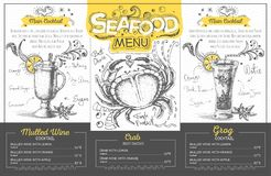 Vintage seafood menu design. Restaurant menu Stock Images