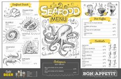 Vintage seafood menu design. Restaurant menu. Design stock illustration