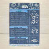 Vintage seafood menu design. Stock Photos