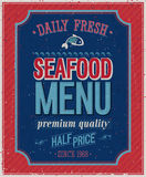 Vintage SeaFood Poster. Stock Photos